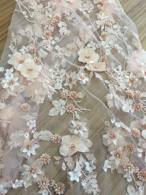 Peach 3D  Bridal Lace Fabric, Luxury3D Flowers App