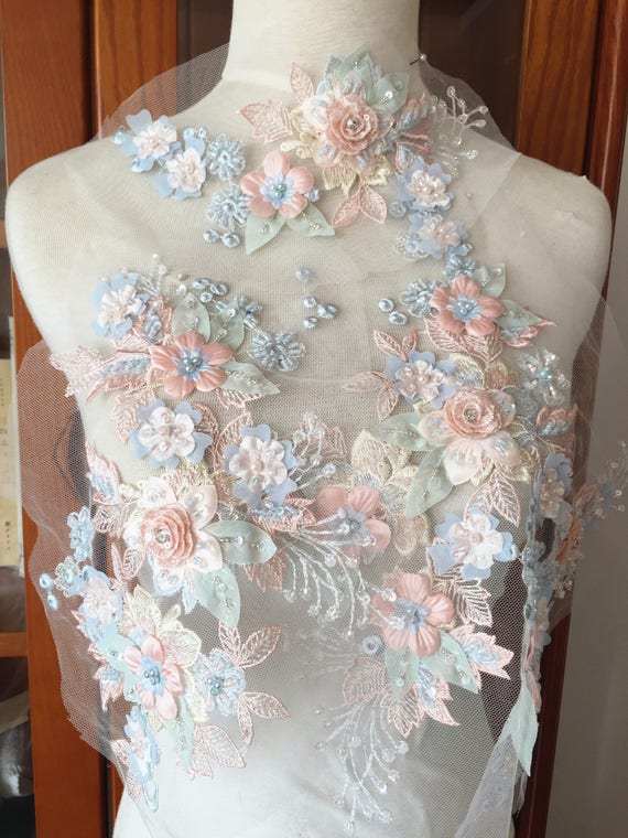 Green Flower Sequins Gold Bead Motif Applique Craft Wedding Costume BUY3GET1FREE