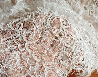 3.3 yards French Alencon Lace Trim in Ivory for Bridal Gown, Wedding Veil, Sashes, Costumes, Haute Couture , Bridla Bolero Topper