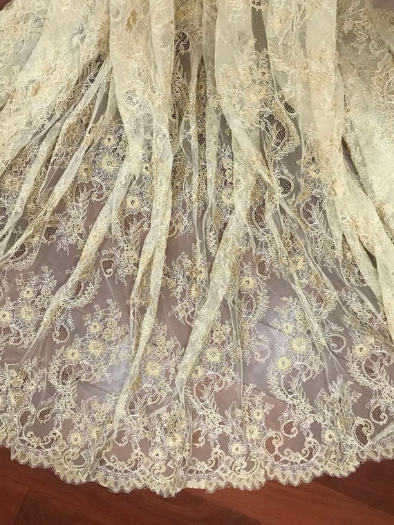 3 meters gold French Alencon lace fabric ,double scallop eyelace soft tulle gold thread embroidery lace fabric