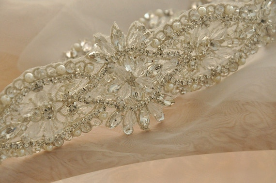 Wedding Belt Sash Birdal Boutique 1 pc Delicate  Rhinestone Beaded Crystal Applique for Bridal Gown Accessories