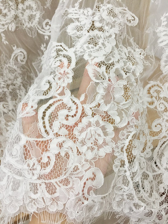 3 Meters French Alencon Floral Lace Fabric Off White Wedding Etsy