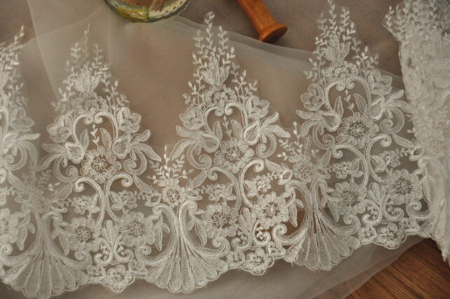 beautiful Alencon lace trim in ivory, floral scallop embroidery lace trim Bridal, Headbands, borders ,Jewelry or Costume Design