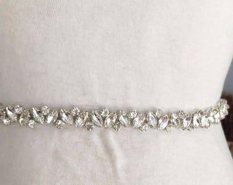 Thin rhinestone and crystal beaded lace trim for wedding belt, bridal sash, wedding gown straps ,bridesmaids belt,rhinestone hairband