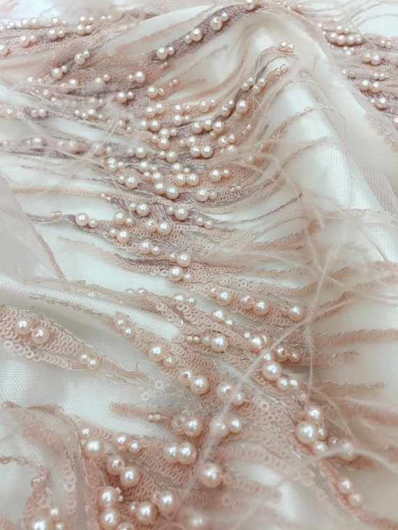 haute couture Prom Dress wedding gown 3D Pearl Sequin Beaded Lace Fabric with Ostrich feather for bridal veil