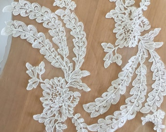Ivory lace applique pair , Alencon lace applique for wedding gown, bodice , headpiece, wedding veils