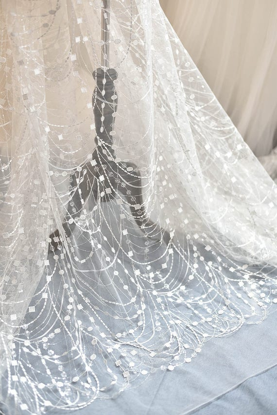 Ivory Sequined Bridal Lace Fabric By Yard For Wedding Gown Etsy