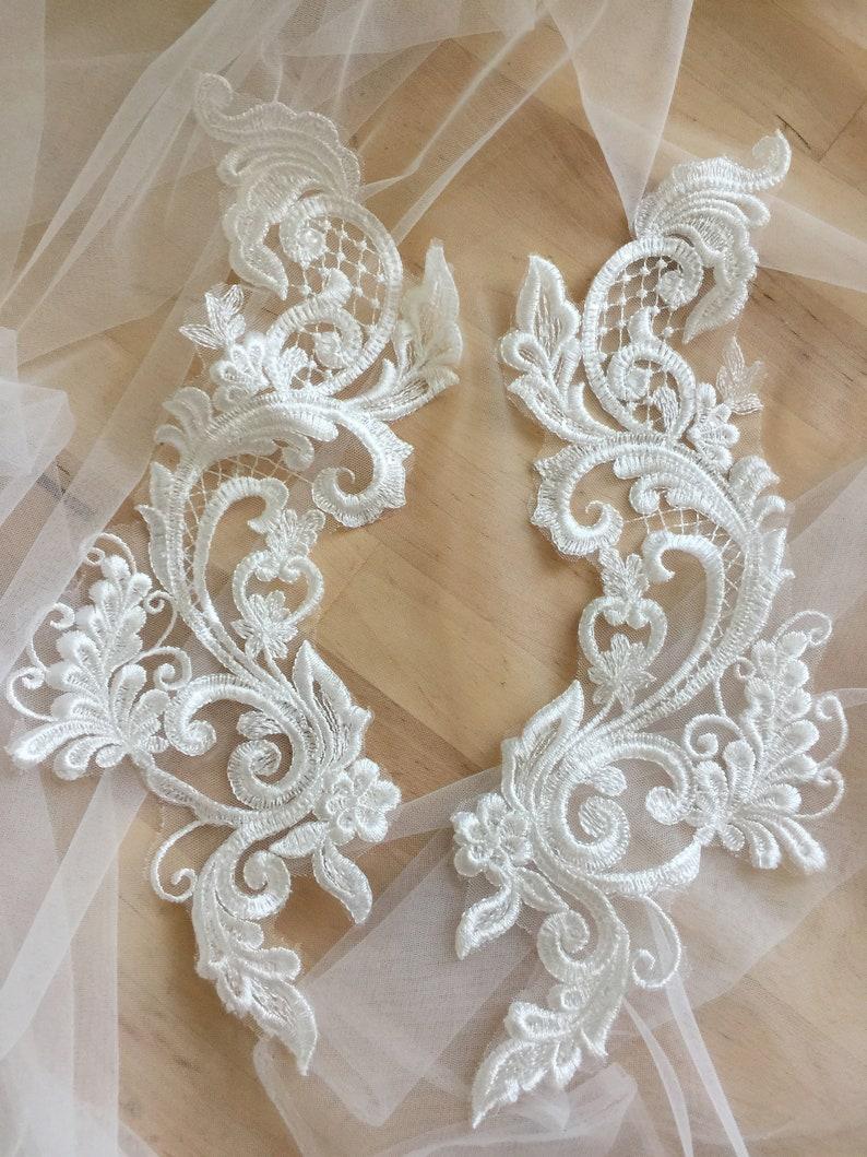Clear Sequin Floral Embroidery Lace Applique Pair Nice Bridal Lace Motif Patch 30x8 cm