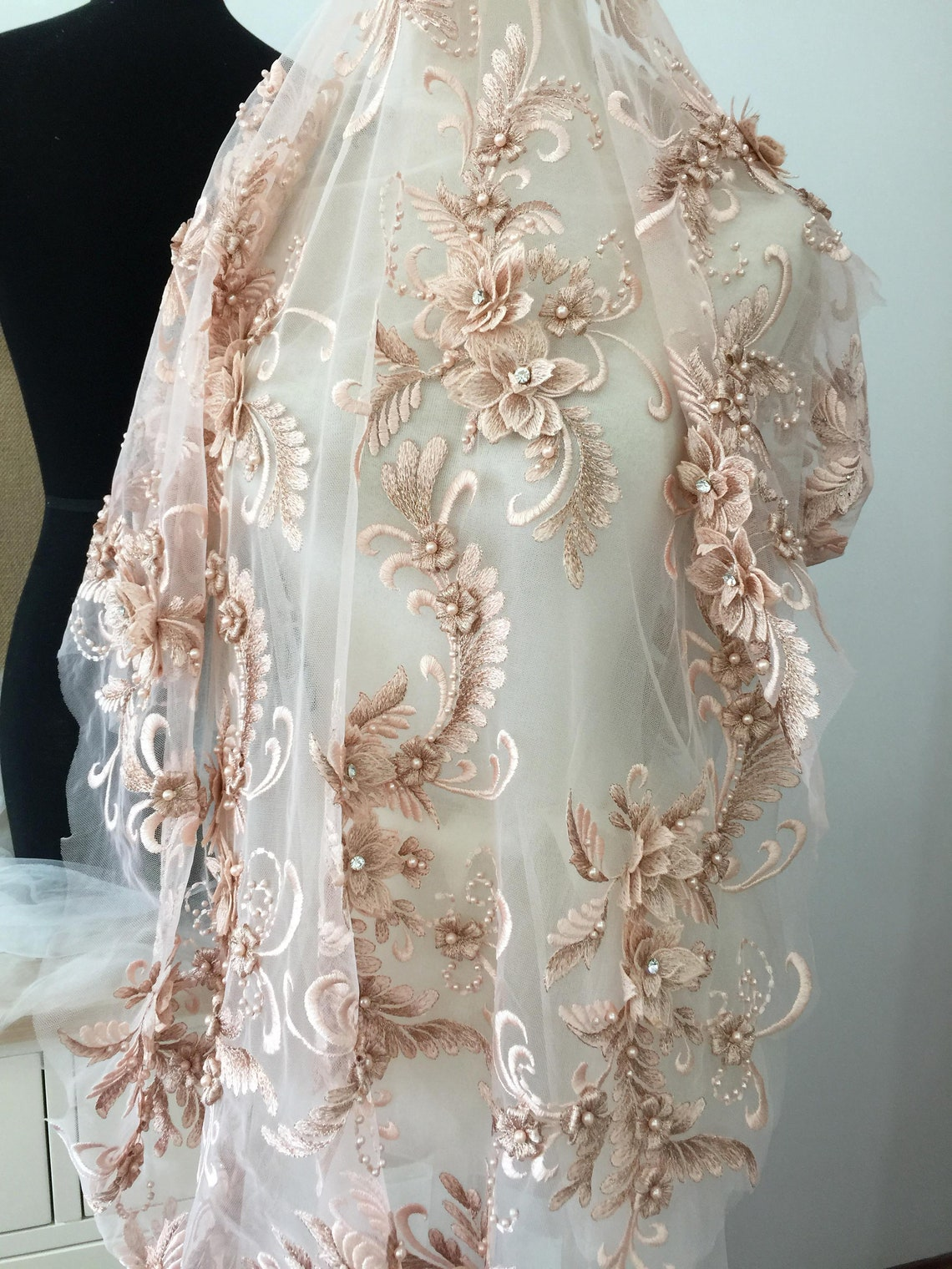 Lux 3D Rhinestone Beaded Blossom Floral Embroidery Lace Fabric