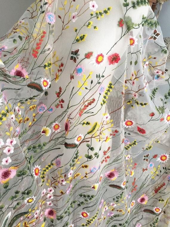 Delicate Floral Embroidery Lace Fabric with colorful stiching embroidery , wedding gown fabric, bridal dress lace fabric by yard
