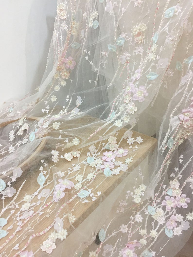 Bridal Dress Wedding Gown Acessories Luxury 3D Beaded Full Blossom Lace Fabric in Pastel Pink for Haute Couture