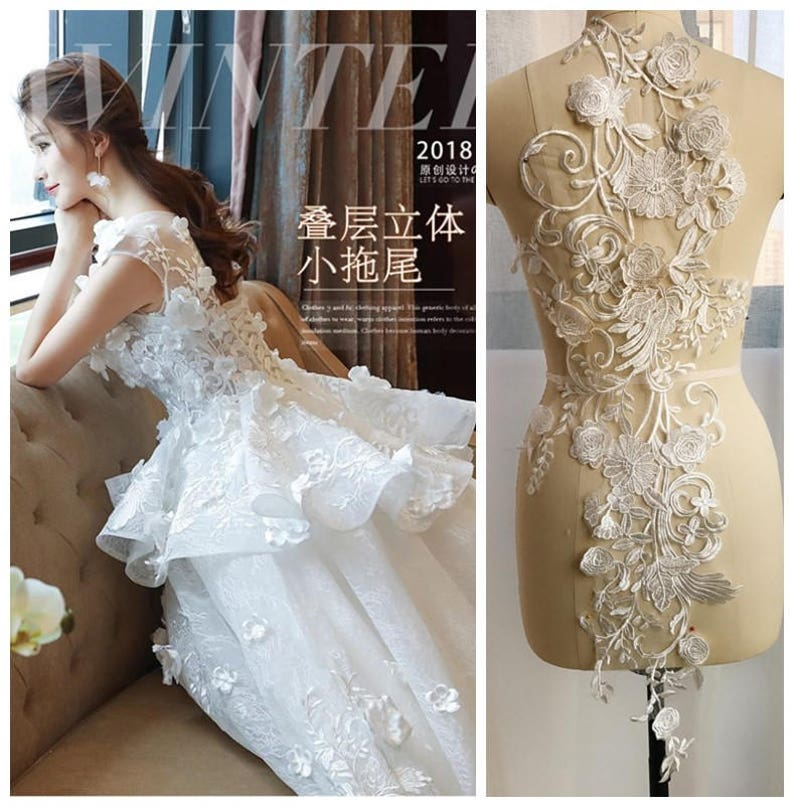 5e8a8b6bf2da1 Large 3D Flower Lace Applique in Off White for Wedding Bodice, Hem Decor,  Veils, Costumes