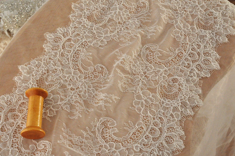 3 Meters French Eyelash Alencon Lace Victorian Style Wedding Lace Bridal Antique Style Lace Trim
