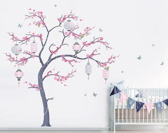 Japanese Cherry Blossom Sakura And Lanterns Nursery Tree Stencil Pack