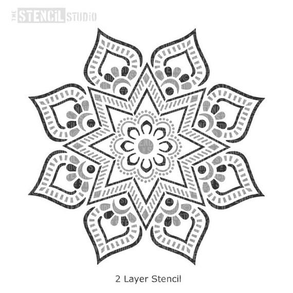 Plantilla de pared motivo indio Sunray Mandala Para Muebles De Tela Artesanía Decoración 10693