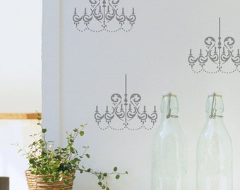 Chandelier Stencil from The Stencil Studio. Reusable, easy to use. 10032