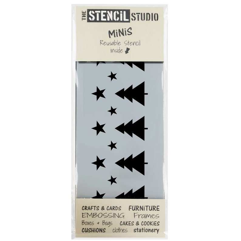 Handy Reusable stencil for Christmas home decor and crafts 10552 Christmas Trees /& Stars Stencil Stencil MiNiS from The Stencil Studio
