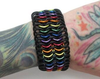 Rainbow chainmail cuff bracelet, gay pride bracelet, stretchy bracelet, LGBT jewelry