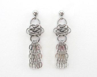 Stainless steel drop earrings, chainmail earrings, stainless steel jewelry for women, dangle earrings