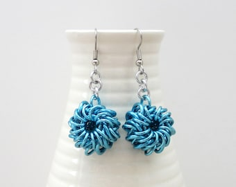Turquoise chainmail earrings, Whirlybird weave