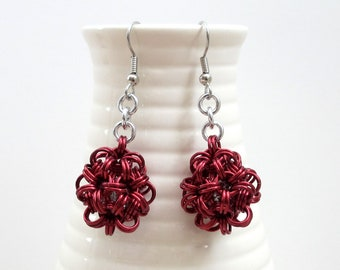 Red chainmaille earrings, mini dodecahedrons