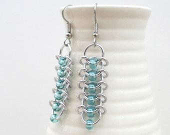 Seafoam beaded chainmaille Centipede earrings