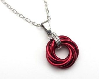 Red pendant necklace etsy red pendant necklace aloadofball Gallery