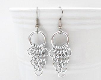 Chainmaille Euro 4 in 1 earrings, dangle earrings, silver earrings
