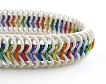 LGBT bracelet, gay pride bracelet, rainbow jewelry, stretchy chainmail bracelet