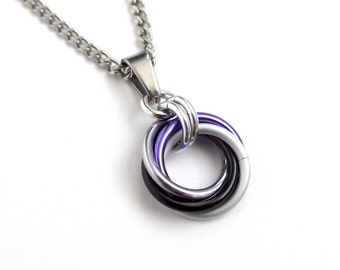 Ace pride pendant necklace, chainmail love knot, asexual pride jewelry