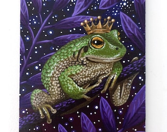 Small Toad Painting on Canvas Board - The Toad King - 16 x 12 cm - 6.30 x 4.72 inches - Fantasy Art - Fairytale Art