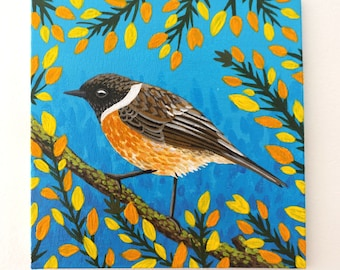 Bird Painting on Canvas Board - European Stonechat In A Gorse Bush - 15 x 15 cm - 5.91 x 5.91 inches - Little Bird Painting