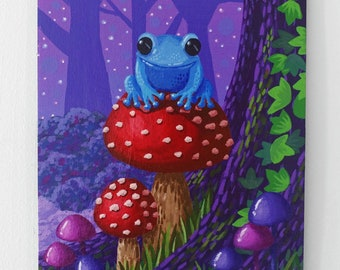 Frog Painting on Canvas Board - Forest Magic - 16 x 22 cm - 6.30 x 8.66 inches