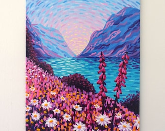 Small Landscape Painting on Canvas Board - Daisy Lake - 24 x 19 cm - 9.45 x 7.48 inches
