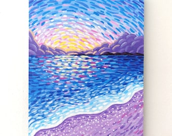 Small Landscape Painting on Canvas Board - Seashore Sunset - 16 x 12 cm - 6.30 x 4.72 inches
