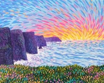 Cliffs of Moher - Small Landscape Painting on Canvas Board - Land's Edge - 24 x 19 cm - 9.45 x 7.48 inches