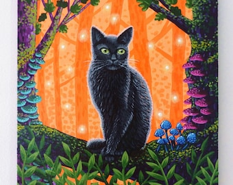 Black Cat Painting on Canvas Board - Forest Guardian II - 20 x 20 cm - 7.87 x 7.87 inches - Fantasy Original Art