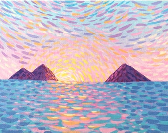 Small Landscape Painting on Canvas Board - Island Sunset - 16 x 12 cm - 6.30 x 4.72 inches