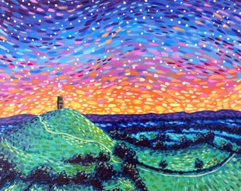 Small Landscape Painting on Canvas Board - Glastonbury Tor - 24 x 19 cm - 9.45 x 7.48 inches