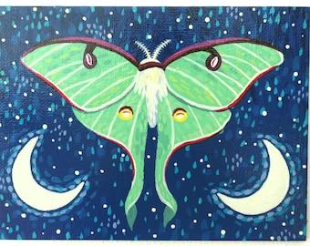 Luna Moth Painting on Canvas Board - Luna Moth - 16 x 12 cm - 6.30 x 4.72 inches