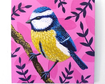 Blue Tit Painting on Canvas Board - Blue Tit on Pink - 15 x 15 cm - 5.91 x 5.91 inches - Little Bird Painting