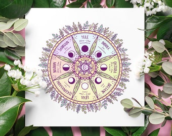 Wheel of the Year Art Print, High Quality Art Poster, Witch Home Decor, Pagan Wall Art, Wicca Poster Design, Magic Print, Book of Shadows