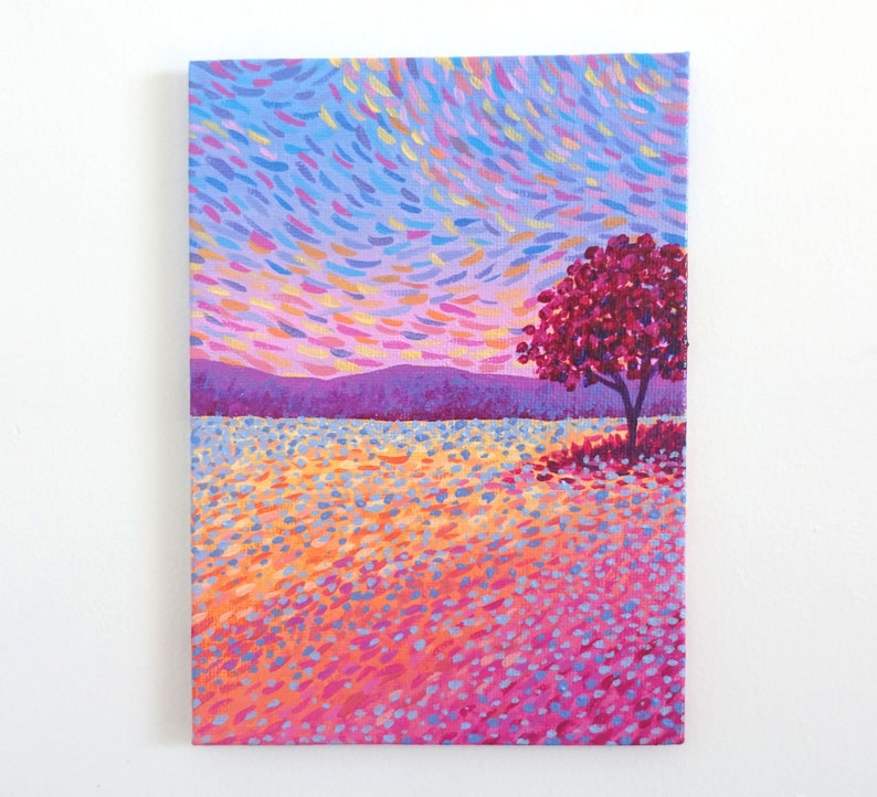 Small Landscape Painting on Canvas Board  Iridescent Sunset  image 0