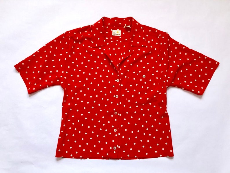 71af9a920e2c9 Vintage Red and White Polka Dot Cropped Blouse