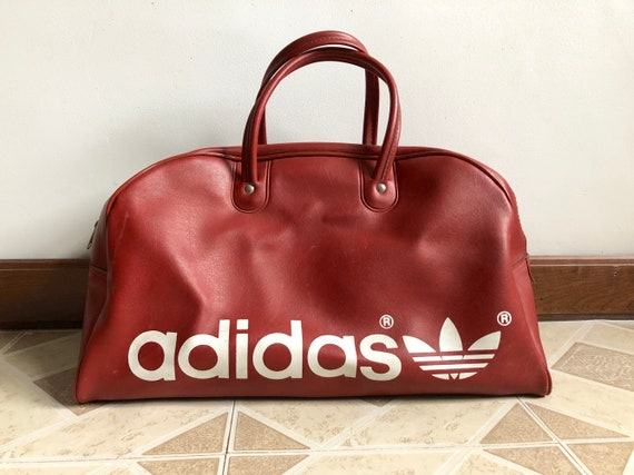 0359627ac201 Vintage Leather Adidas Sports Duffle Bag Yugoslavia