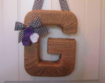 Country Monogram Wreath. Farmhouse Style Jute Letter