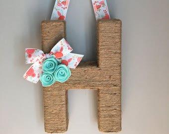 Monogram Wreath with Floral Ribbon. Farmhouse style Jute Letter.