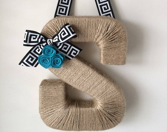 Greek Key Monogram Wreath.  Farmhouse Style Jute Letter.