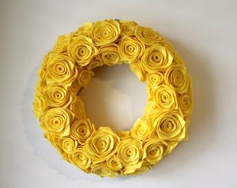 Yellow Felt Rosette Wreath.Premium Felt. Felt flowers. Felt Wreath. Front Door Decor. Door Hanging. Wall Hanging. Custom. Flower Wreath