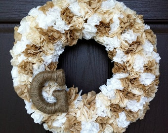 Farmhouse wreath with jute monogram